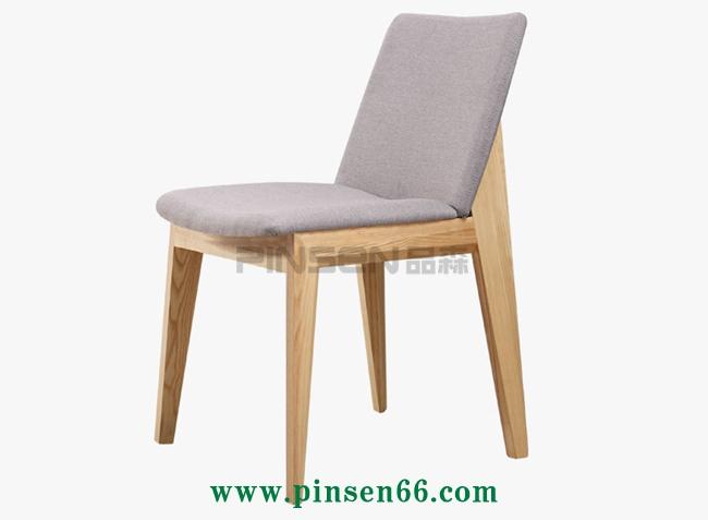 北欧棉麻布艺餐椅水曲柳软包靠背椅火锅椅子