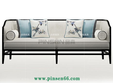 丽维拉新中式沙发 简约现代中式创意布艺印花沙