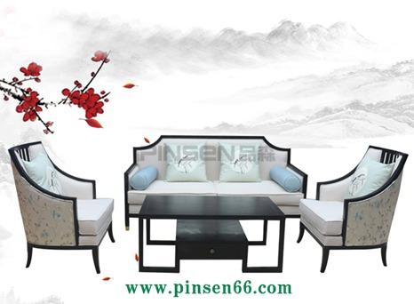 新中式家具 酒店大堂沙发布艺高背装饰椅 后现代