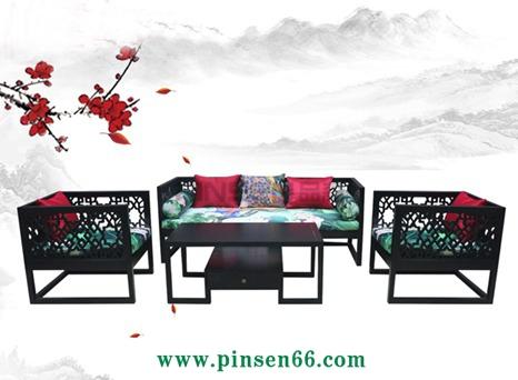 新中式三人沙发卡座 酒店客厅复古布艺实木沙发