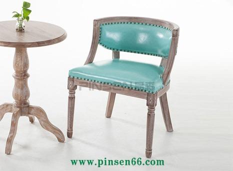复古咖啡餐厅椅 美式乡村新古典实木餐椅 北欧简