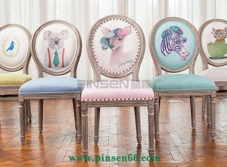 实木复古休闲餐椅 美式乡村咖啡厅椅子 做旧扶手