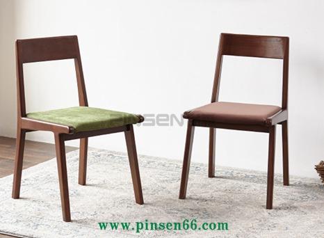 维莎日式纯实木餐椅子红橡木黑胡桃色简约现代