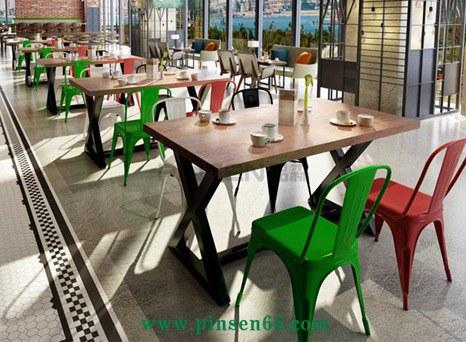 北欧铁艺实木餐桌椅组合美式乡村主题餐厅咖啡