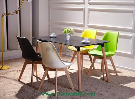 现代简约实木餐桌 伊姆斯方桌咖啡厅 甜品店桌椅