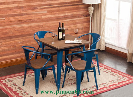 美式乡村铁艺咖啡桌椅组合 复古做旧休闲吧沙发