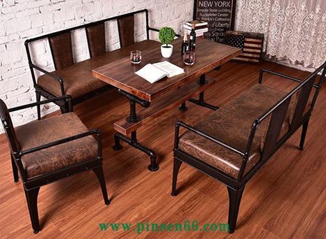 复古怀旧铁艺卡座沙发桌椅组合工业风西餐厅奶