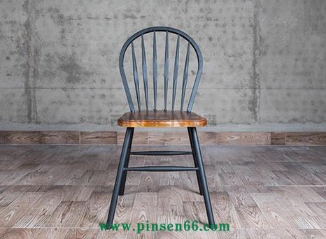 LOFT美式乡村家具复古餐椅铁艺实木餐桌椅靠背孔