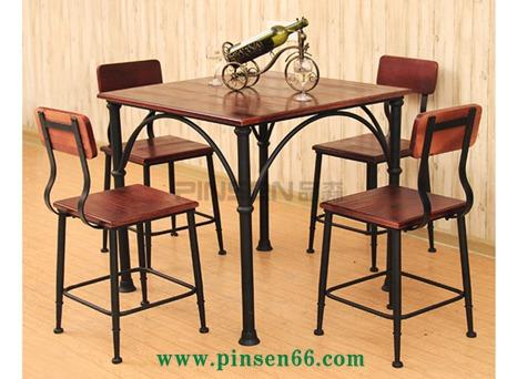 定制铁实木餐桌吧台桌椅组合饭桌快餐咖啡厅奶