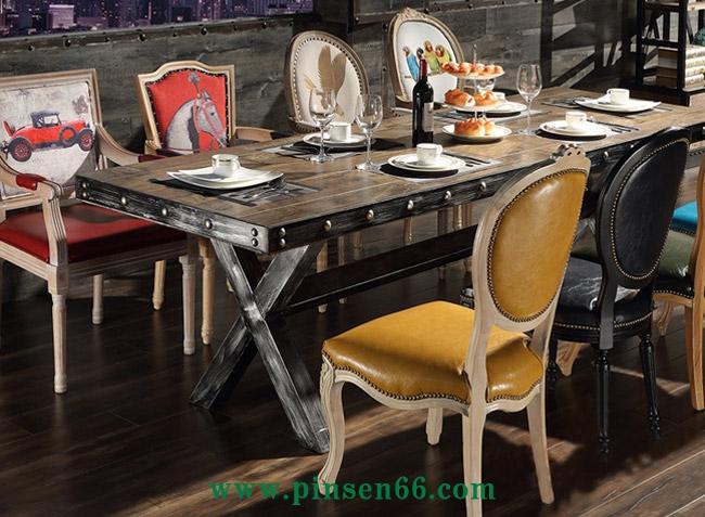 美式复古酒店家具 大型餐厅超长铁皮包边铁艺餐