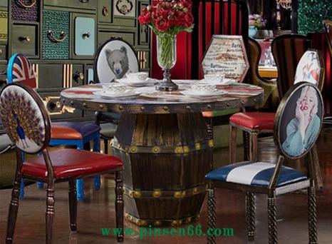 美式咖啡厅主题餐厅桌椅圆形铁艺火锅桌圆桌子
