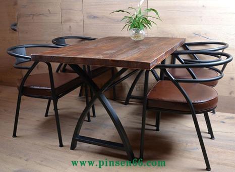美式乡村餐厅实木餐桌椅组合 长方形复古原木咖