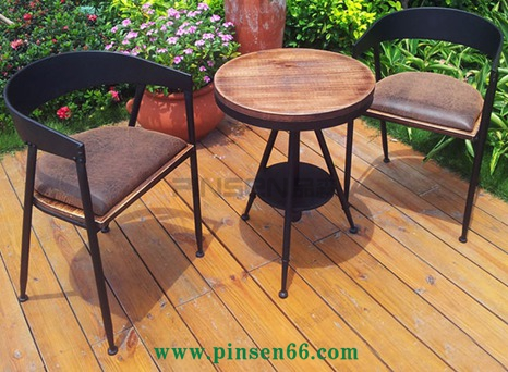 铁艺餐椅休闲椅洽谈椅子美式实木复古工业风奶