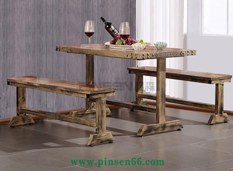 实木餐桌椅主题餐厅快餐桌椅西餐厅咖啡厅桌椅