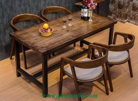 实木铁艺成套餐桌椅酒店西餐厅咖啡店奶茶店餐