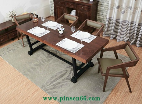 复古美式小户型实木餐桌椅组合6人 简约北欧铁艺