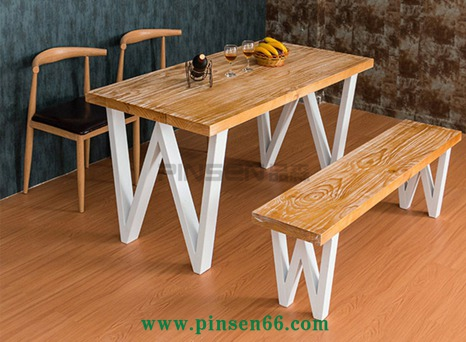 <b>美式实木家具 铁艺加固长方形创意餐桌咖啡厅西</b>