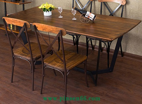美式乡村工业风复古实木餐厅桌椅西餐厅咖啡桌