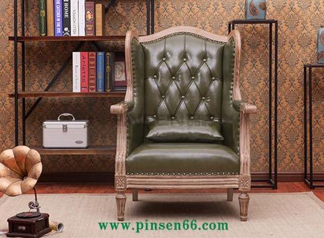 美式乡村老虎椅单人沙发简约法式实木沙发客厅