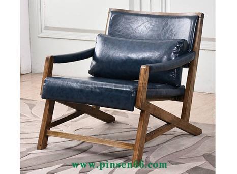 北欧风格单人实木椅 实木框架海绵软包实木沙发