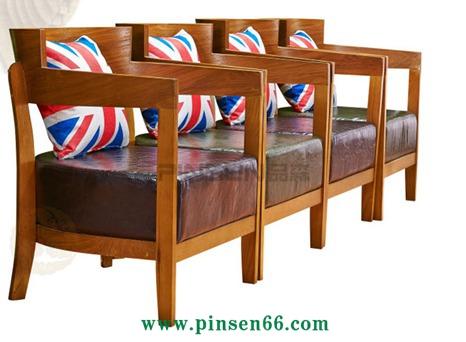 北欧实木围椅 咖啡厅桌椅 休闲网咖西餐厅洽谈卡