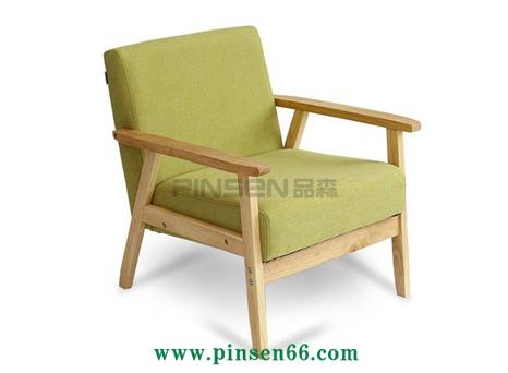 厂家直销优质北欧单人沙发椅 咖啡厅实木沙发椅