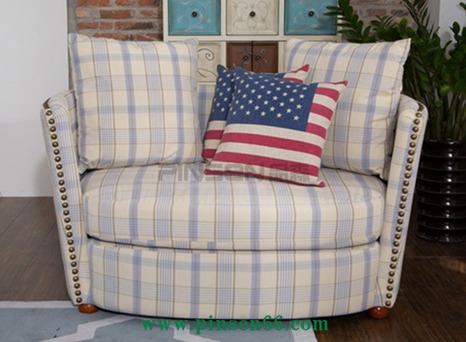 咖啡厅布艺沙发休闲双人位沙发 美式简单格子布