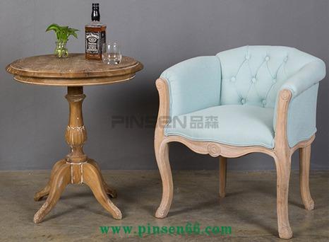 美式实木椅子沙发椅 复古做旧咖啡厅酒店沙发椅