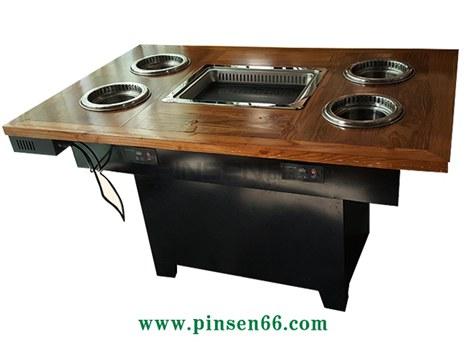 实木无烟烧烤火锅一体桌