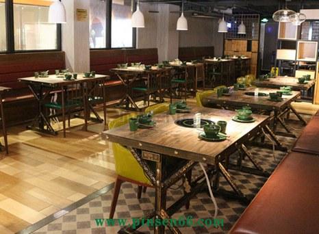 主题餐厅美式复古铁艺风格实木火锅桌椅-厂家定