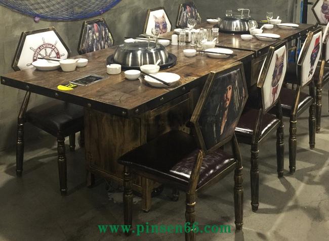 美式loft复古风格实木火锅桌
