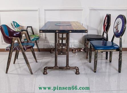 厂家批发实木铁艺快餐桌椅美式乡村 主题餐厅电