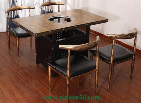 美式工业风烧烤火锅桌椅主题餐厅火锅桌椅组合