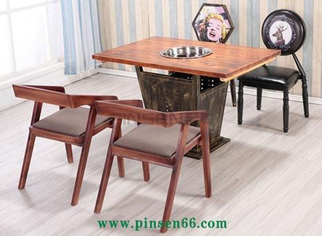 炭化餐饮桌椅串串香桌椅餐馆烧烤桌椅实木电磁