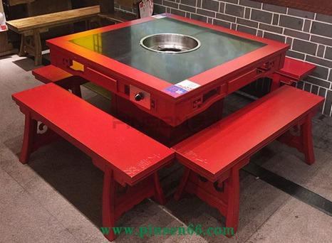 新中式红色方形实木火锅桌定制火烧石桌面电磁