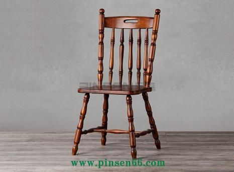 美式实木餐椅 北欧复古简约实木椅子 靠背休闲椅