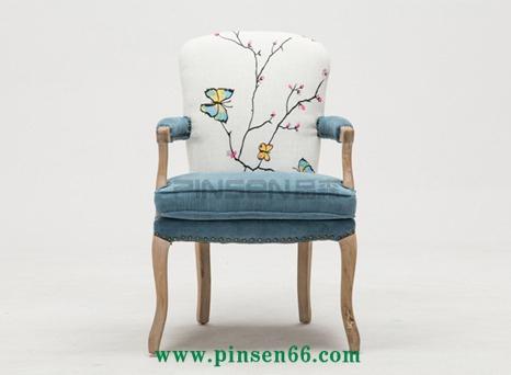 美式休闲实木椅欧式餐椅复古扶手椅子做旧酒店