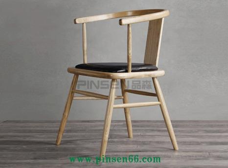实木餐椅 简约复古美式实木扶手椅子北欧休闲火