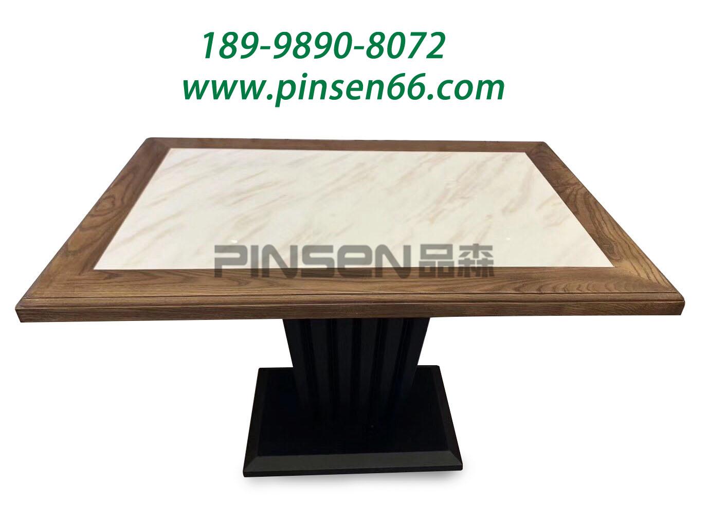 铁艺桌脚实木包边大理石餐厅餐桌
