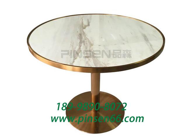 铁艺黄铜大理石休闲餐桌 西餐厅咖啡厅餐桌