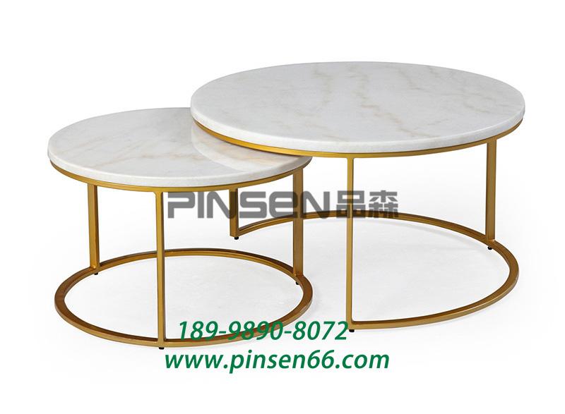 铁艺黄铜大理石组合餐桌 咖啡店饮品店休闲桌子