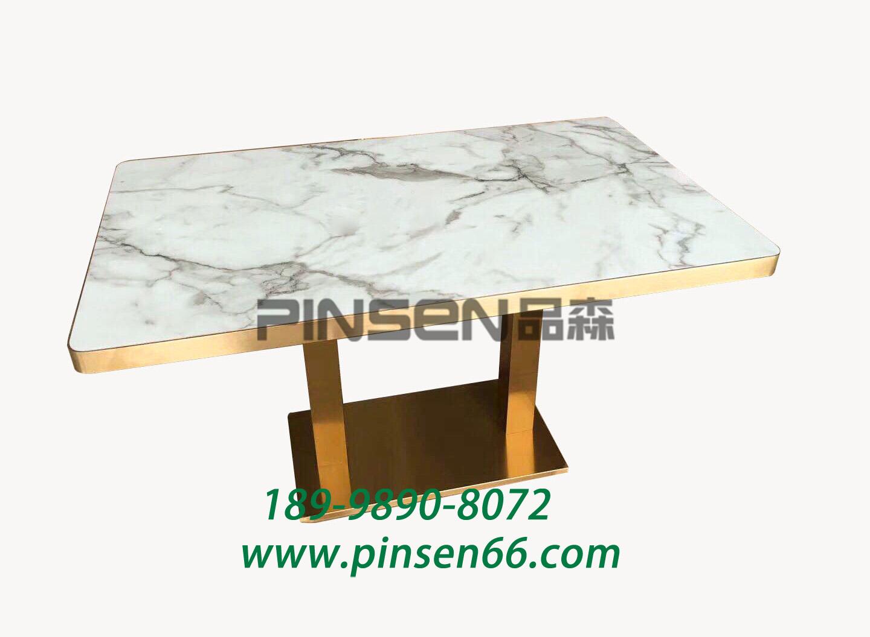 铁艺黄铜包边大理石新中式餐桌 餐饮店餐桌