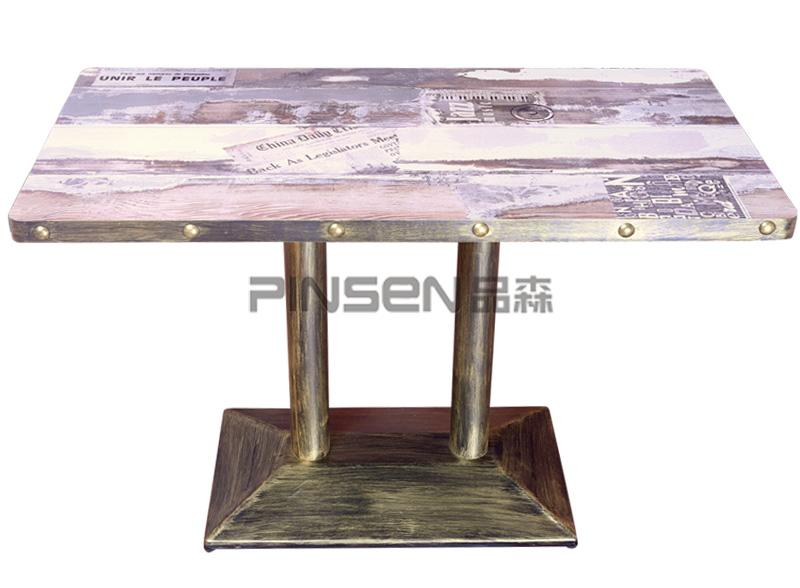 板式实木复古工业风西餐厅桌子 铁艺咖啡厅餐桌
