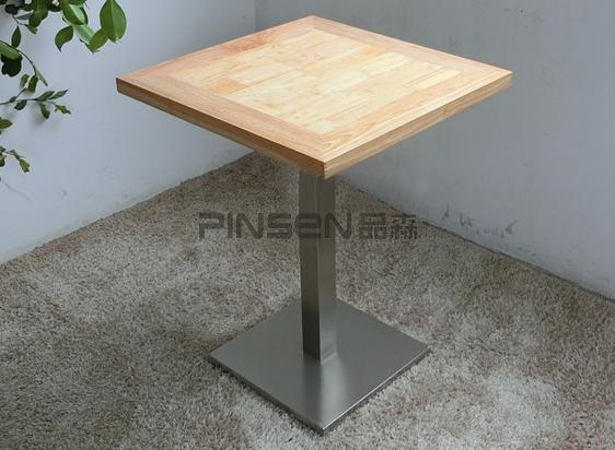简约实木小方桌不锈钢桌脚 茶餐厅快餐厅餐桌