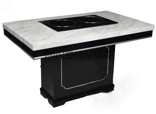 白色大理石四人六人嵌入式长方形电磁炉火锅餐