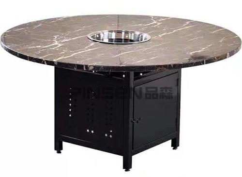 黑色大理石沉降式圆形电磁炉火锅餐桌