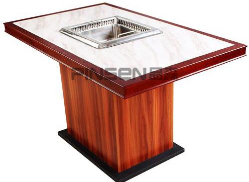 新中式实木大理石火锅桌椅