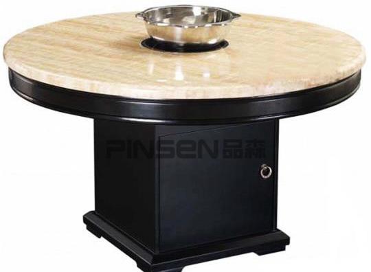 嵌入式大理石台面电磁炉火锅圆桌