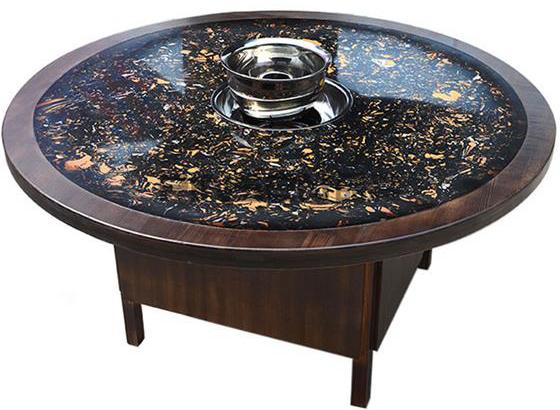 实木包边黑色石斑大理石火锅圆桌