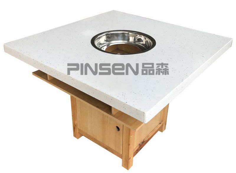 下沉式白色大理石四人正方形火锅餐桌